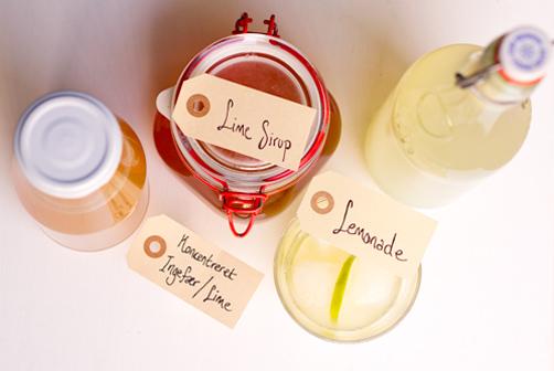 lemonade, limesirup og ingefær-limesaft