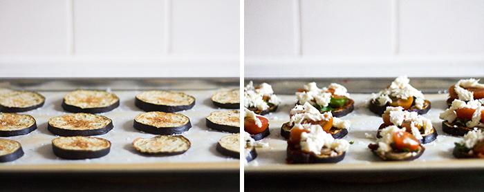 aubergine mini-pizza, nu med fyld